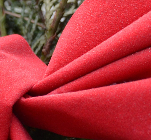 part of a red fabric Christmas bow in a decoration with some green pine