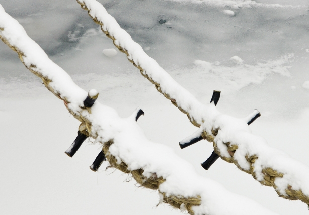 ice covered ropes that are holding a boat tied to the shore