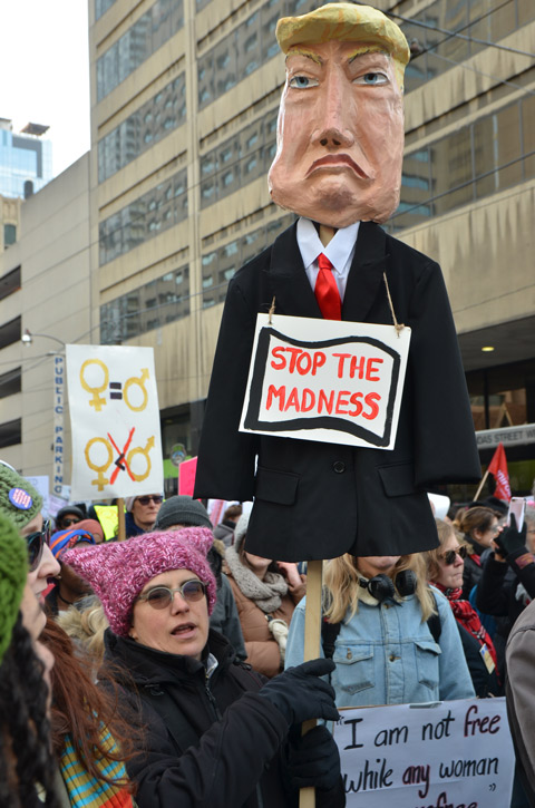Toronto Womens march, protest parade, woman holding up an effigy of Trump with a sign that says stop the madness. Others around her walking in the protest march
