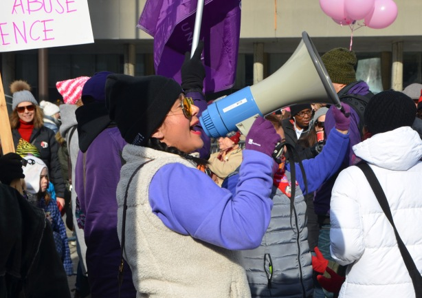 Womens March, Nathan Phillips square, a woman with a megaphone