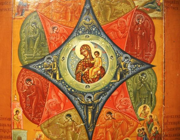 very old painting, religious, virgin mary and baby jesus in the center surrounded by other religous scenes