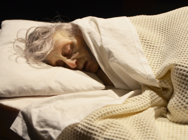 very realistic and life like scupture of an old woman with grey asleep under a blanket with her head on a pillow