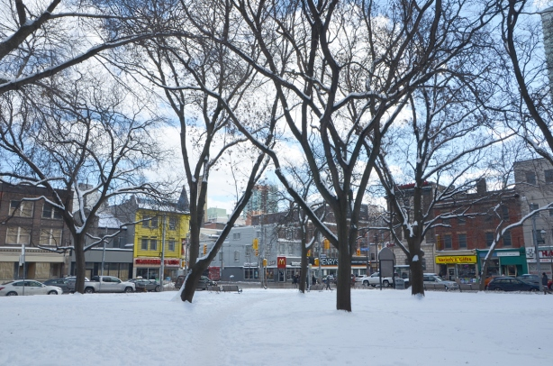 looking at the intersection of Queen and Church, through the park, with yellow building and other stores in the background
