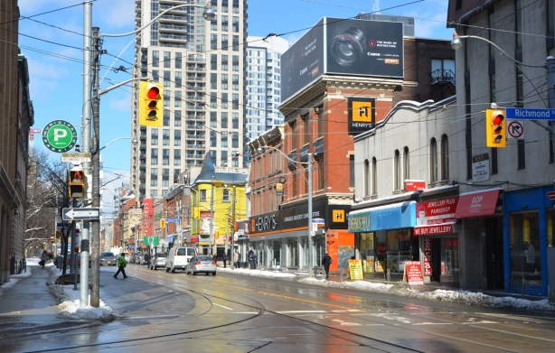 looking north on Church St. from Richmond Street, stores, street, people, street scene,
