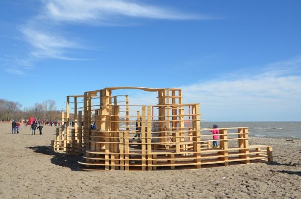 rising up, an installation part of warming stations at kew beach, beside lake ontario