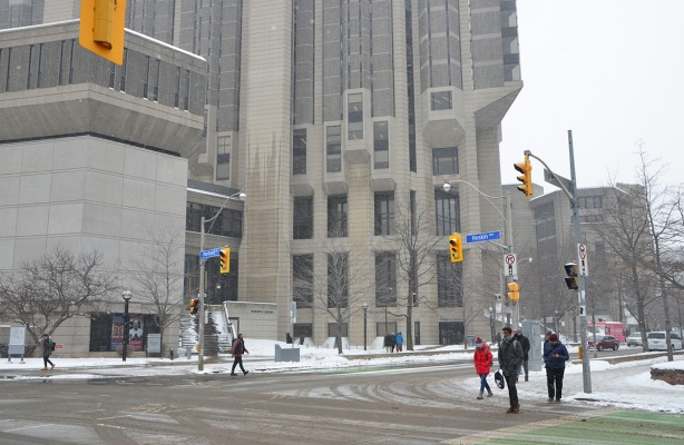 intersection of Harbord and St. George streets, Robarts Library, large concrete building