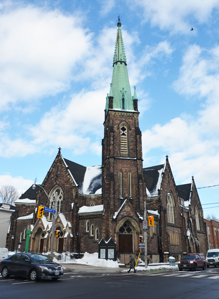 Jarvis Street Baptist Church, from diagonally across the intersection