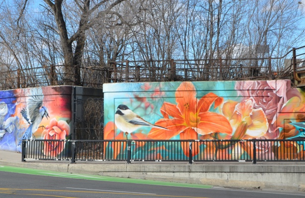 mural with a bird, chicakdee or sparrow beside a large orange tiger lily