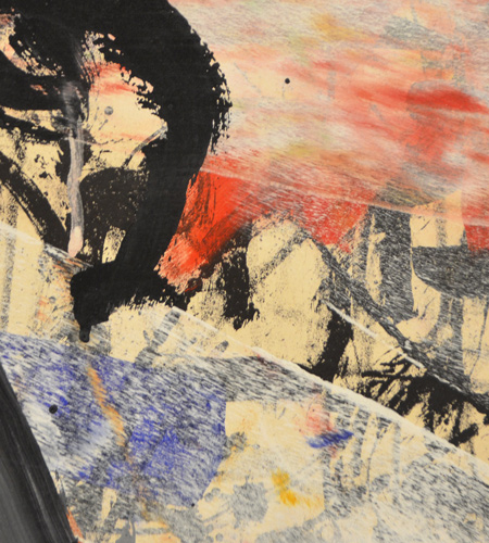 acrylic paint on top of lithograph, a detail of a large work by J P Riopelle called Avatac, created in 1971.  abstract art.