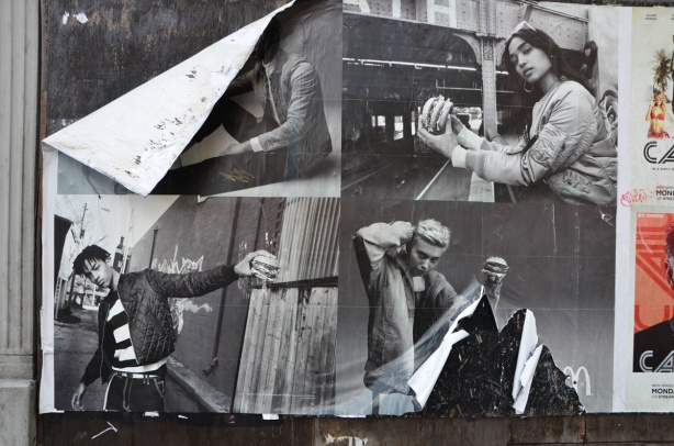 4 large black and white photos of people eating hamburgers, that is actually a mcdonalds ad