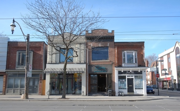 two storey store fronts on queen street east, 380 Queen, 382 Queen and 384 queen.