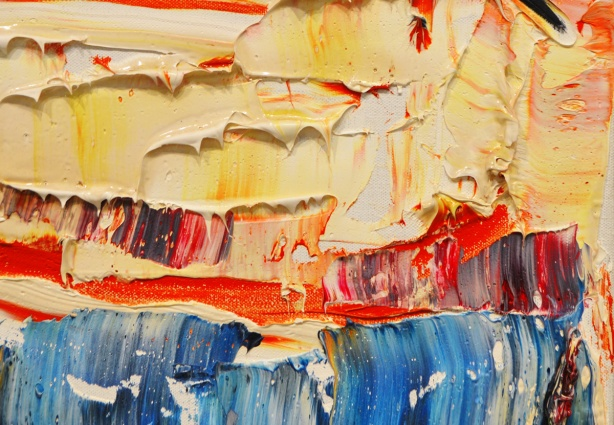 a close up of a large abstract painting with lots of acrylic paint on it