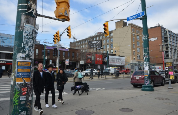 the northwest corner of Queen and Spadina in 2018, pedestrians, buildings, street scene