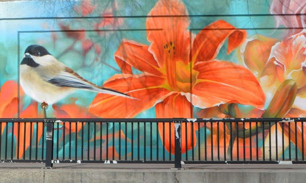 mural, large painting of a tiger lily and a sparrow