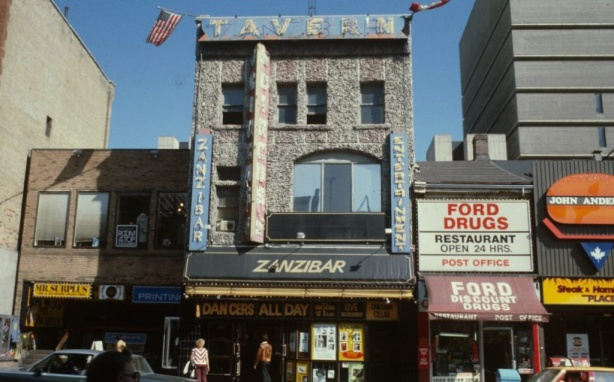 357, 359, and 361 Yonge street in the 1980s including the Zanzibar tavern
