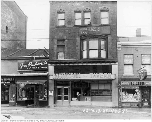 vintage photo of 357, 359, and 361 Yonge street, black and white, 3 storefronts,