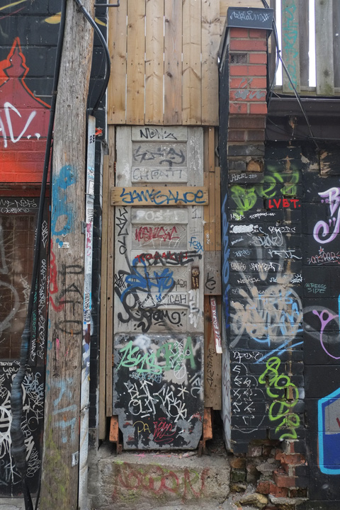 old wood door in an alley covered with tags and graffiti