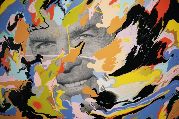 part of a Douglas Coupland painting, with a black and white picture of a man's face in the center of swirls of colours. Apainting by Douglas Coupland