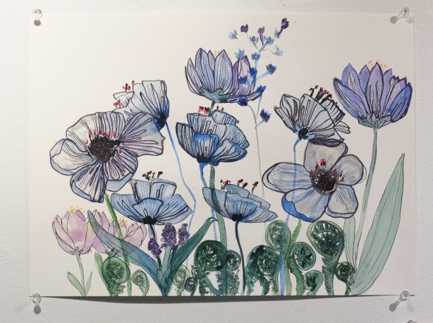 a pen and ink drawing of spring flowers, poppies, in blues and purples, and fiddleheads in bright green