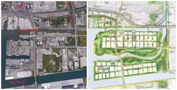 two maps side by side, one is an aerial photo of the port lands and the other is a drawing of the new route of the Don River through the port lands and the planned changes to the area.