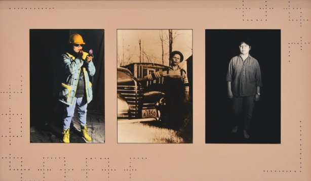 three pictures frames together, on the left is a woman in workmen's clothes and hard hat but putting on lipstick, in the middle is a vintage black and white photo