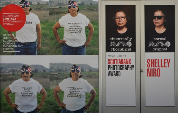 4 photos by Shelley Niro, of indigenous woman wearing a white t shirt with words on them, plus aboriginal/original pictures of the artist.