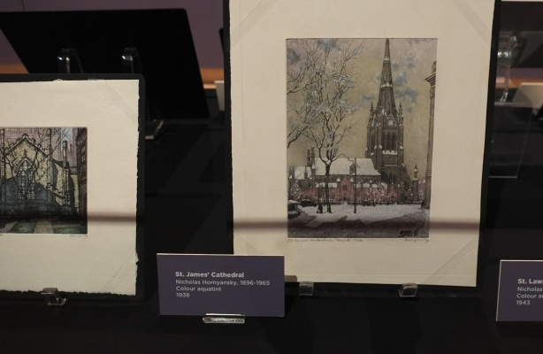 small framed painting of Saint James cathedral in Toronto, by Nicholas Hornyansky, painted in 1938 .