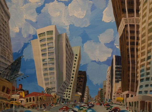 bright painting of city landscapre, Yonge & Bloor, bendy buildings, cars as coloured blobs on the streets, puffy clouds in bright blue sky, by Carlos Marchiori