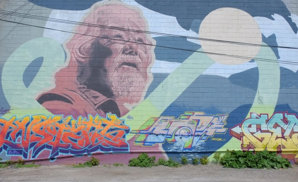 david Suzuki and the atlantic salmon mural by Kevin Ledo, a very large 24 foot by 64 foot mural, large head of David Suzuki