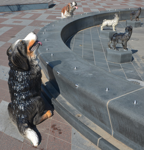 statues of dogs around a fountain that is dry at the moment.