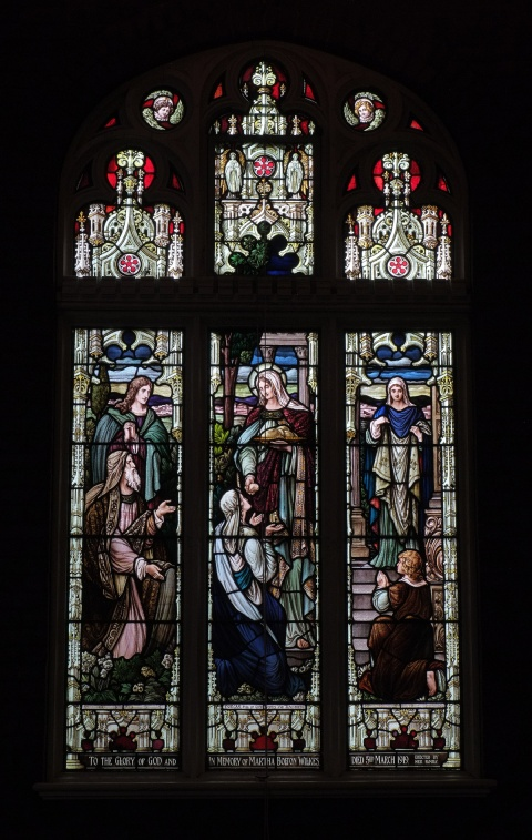 three panel stained glass window at St. Simons church