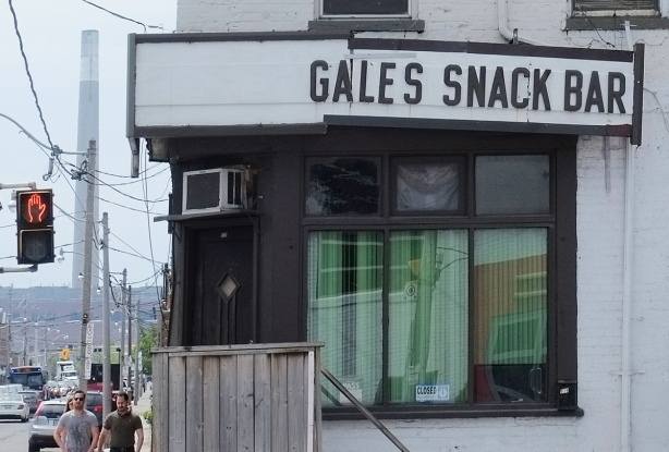 Gales snack bar, close up of window, green curtains, closed sign