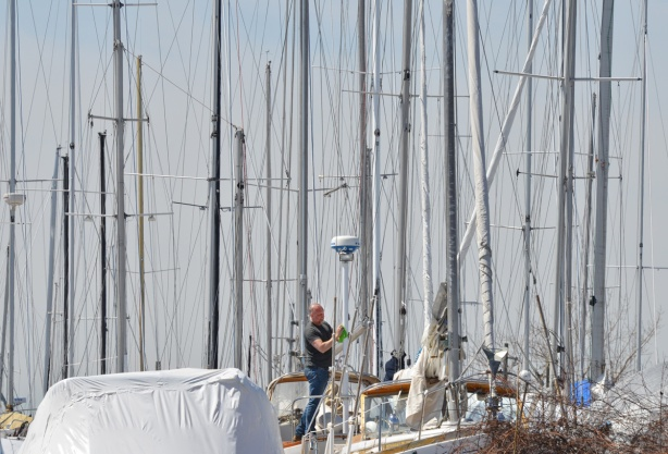 a lot of masts from sailboats standing upright, a man walks on one of the boats as he gets it ready to go back in the water after the winter