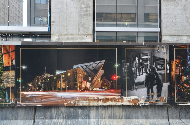 posters on hoardings in front of a construction site - picture of the ROM at night, picture of the interior of a menswear store, man trying on a suit