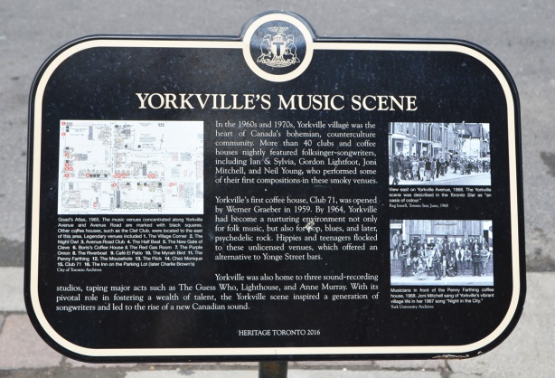 plaque to Yorkvilles music scene, Heritage Toronto black and white plaque, from 2016