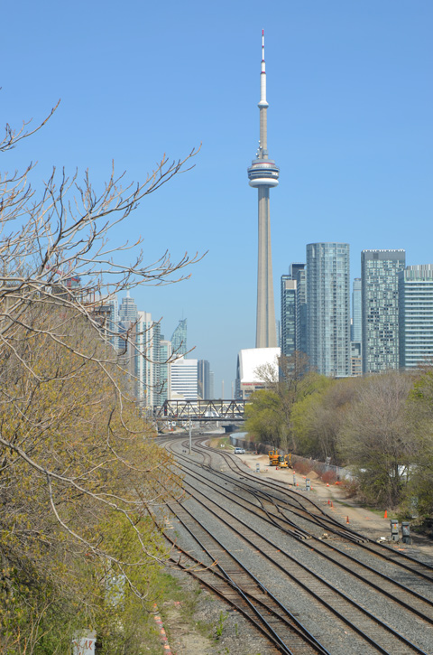 railway tracks and CN Tower