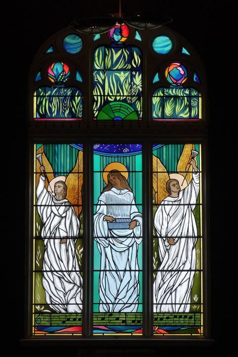 stained glass window by Sarah Hall in St. Simons church, 3 panels each with an angel