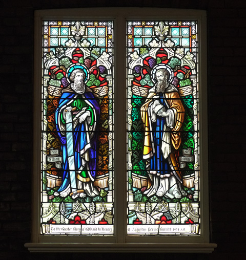 stained glass window, two panels, one with St. Simon and the other with St. Matthew,