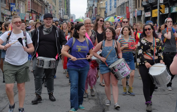 drummers and marchers in the dyke march on yonge street