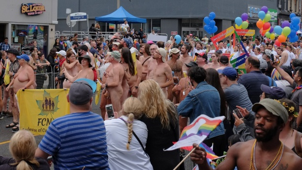 federation of canadian naturists walking nude in the pride parade