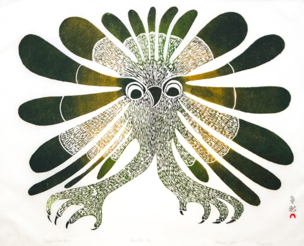 a picture of an Inuit artwork, Happy Little Owl, stonecut on paper, 1969, by Kenojuak Ashevak