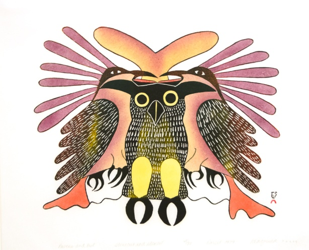 a picture of an Inuit artwork, Ravens and Owl, stonecut and stencil on paper, 1979, by Kenojuak Ashevak
