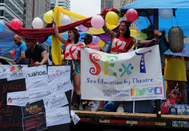 float in the pride parade about sex education through theatre, called sext,