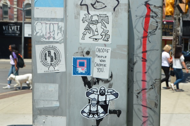 stickers on a metal box, urban ninja squadron, also one with words that say Choose people who choose you