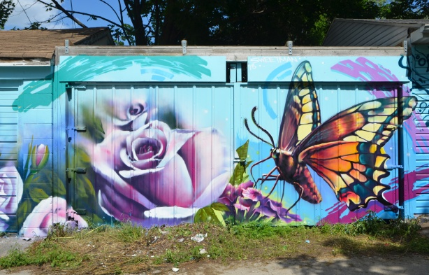 mural by Nick Sweetman, large realistic looking butterfly and a large pinkish rose