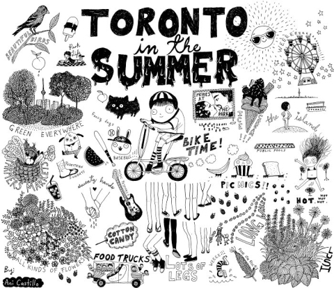 black and white art by Ani Castillo of 'Toronto in the Summer', many whimsical scenes of the city in the summer, birds, trees, kids on scooters, lots, of legs, all kinds of flowers, picnics, the island, sun, the ex,