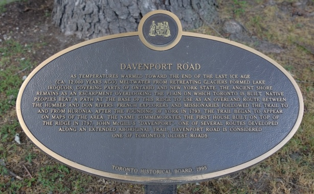 toronto historical society plaque for Davenport Road, 1995, description of the history of Davenport Road