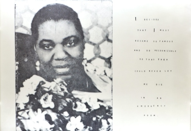 picture of the head and shoulders of a middle aged black woman, old black and white photo, with words beside that say ""