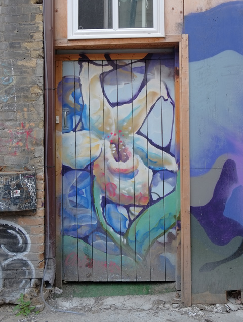 painting of a large flower on a door in an alley