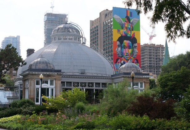 Allan Gardens conservatory with its glass dome roof in the foreground, tall buildings in the background. The side of one of the background buildings has a colourful mural on it with a rainbow striped background